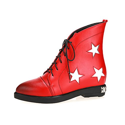 VogueZone009 Damen Mittler Absatz Niedrig-Spitze Gemischte Farbe Schnüren Stiefel Rot