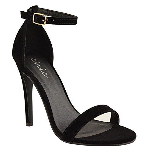 Damen hoher Stiletto Absatz kaum There Riemchen Knöchelriemen Party Sandalen Schuhe Größe schwarz Kunstwildleder