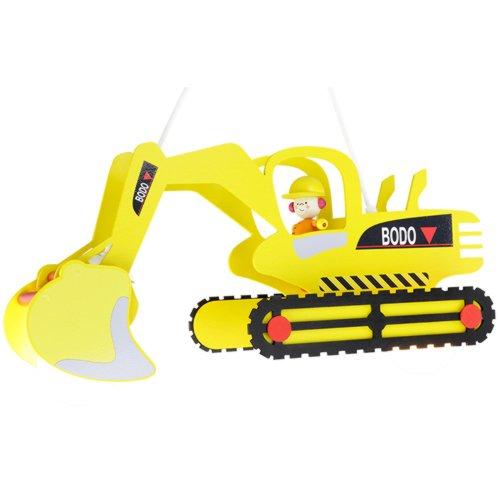 Elobra Kinder Lampe Pendellampe Bagger mit Bodo Deckenleuchte Kinderzimmer Holz, gelb 128428