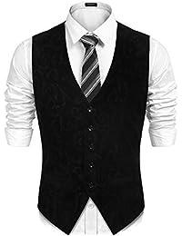 9566389673c L'Amore Coofandy Mens Swirl Jacquard Waistcoat Velvet Retro Paisley Floral  Patterned Suit Vests