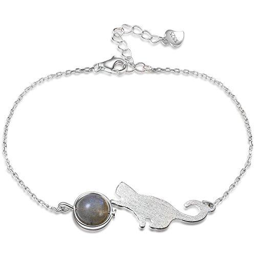Ategazza Damen Armband 925 Sterling Silber Katze mit Ball 20cm (Sterling Silber Katze Armband)