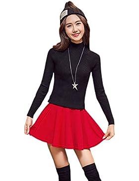 XFentech Transpirable falda plisada de cintura elástica color sólido más el tamaño falda corta para mujer, Rojo/L
