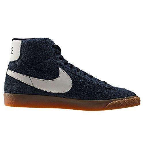 NIKE WMNS Blazer Mid Suede Vintage Schuhe Damen Echtleder-Sneaker Mid Top Grau 518171 017 Black Sail