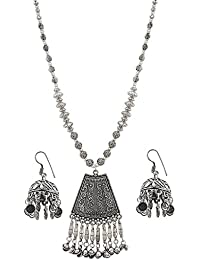 Aradhya Designer High Quality Silver Pendant Chain Oxidized German Silver Necklace With Jhumki Earrings For Women...