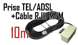 CABLING® Filtre ADSL Haut débit + cable RJ11 10M