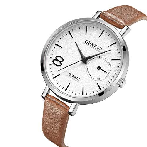 Kinlene Damen Urban Fashion Leder Casual Uhr Luxus Analog Quarz Kristall Armbanduhr Uhren