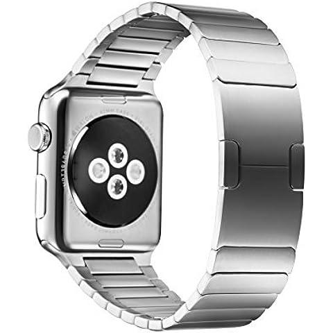 Apple Watch Cinturino, Fullmosa® 42mm Smontare Acciaio Inossidabile Bracciale a Maglie Sostituzione Band con Chiusura a Farfalla per Apple Watch, Argento