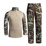 Zhiyuanan Herren Outdoor Militär Camouflage Anzug 2 Stück Sets Taktische Army Langarm Hemd Shirts + Multi-Tasche Camo Wander Hosen Tarnfarben Tarnmuster Trekking Kleidung Dschungel-Tarnung L