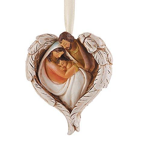 Heilige Familie mit Engel Flügel Kunstharz Weihnachten Ornament, 7,6cm, (Baby Engel Mit Flügeln)