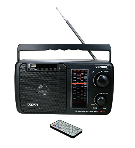 Vemax Creta Multiple Band (FM/AM/MW/USB/AUX/MMC/TV) Portable Radio With Remote, Charger & Aux Lead (Black) [New & Improved]