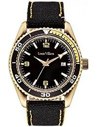 Reloj hombre Louis Villiers reloj 43 mm acero negro y brazalete negro de piel lv1046