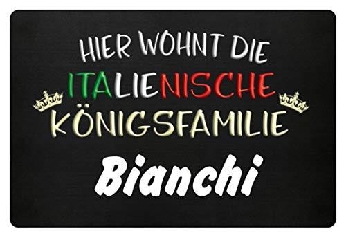 Anpassbar mit deinem Namen. Hier wohnt die Italienische Königsfamilie (Trage deinen Namen ein), Italiener, Italien,Italienerin - Fußmatte -60x40cm-Schwarz