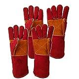 Guantes de trabajo de soldadura, Resistencia a altas temperaturas anti-quemaduras Guantes largos de cuero de seguridad, Para barbacoa horno guantes de mano de obra de jardinería (2 pares)