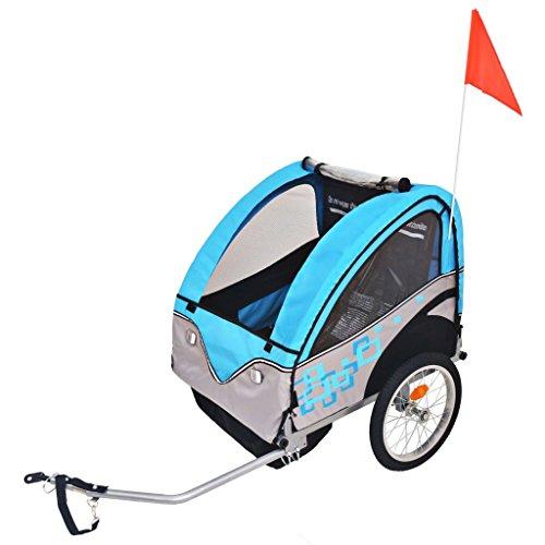 vidaXL Kinder Fahrradanhänger Grau Blau 30kg Kinderanhänger Anhänger Transport