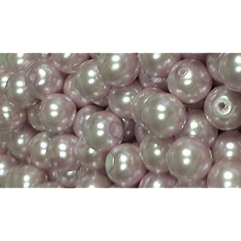 50pezzi 10mm perline in vetro, colore: rosa pallido–a1206