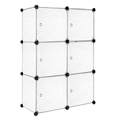 HENGMEI Kleiderschrank DIY Garderobenschrank Steckregalsystem Regalsystem Garderoben mit Weiß-Muster (6 Boxen mit Tür) (Box Tür)