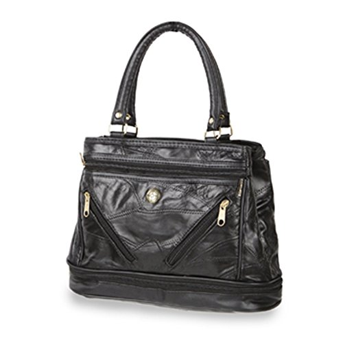 Friendz Trendz-Due Anteriore tasche con zip in pelle patchwork con finiture PU borse della bors (brown) black