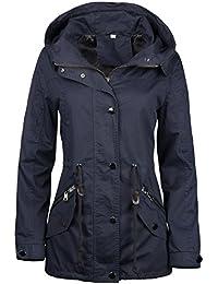 Stel4Style Damen Jacke ÜBERGANGSJACKE Trenchcoat Kapuze 100% Baumwolle  LEICHT KURZ Mantel fd350a89a0