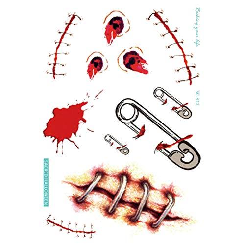 ddellk Narben Tattoo Aufkleber, Einweg gefälschte Wunde Aufkleber Halloween Make-up Requisiten Unfug Requisiten