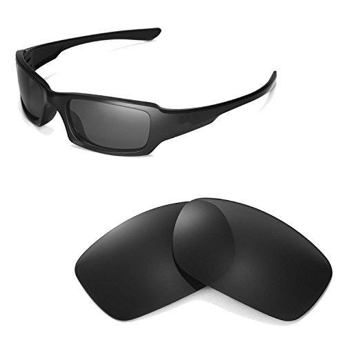 Walleva Ersatzgläser für Oakley Fives Squared Sonnenbrille -Mehrfache Optionen (Schwarz - polarisiert)