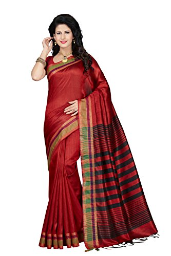 Rani Saahiba Art Tassar Silk Woven Saree ( QNS4_Red )