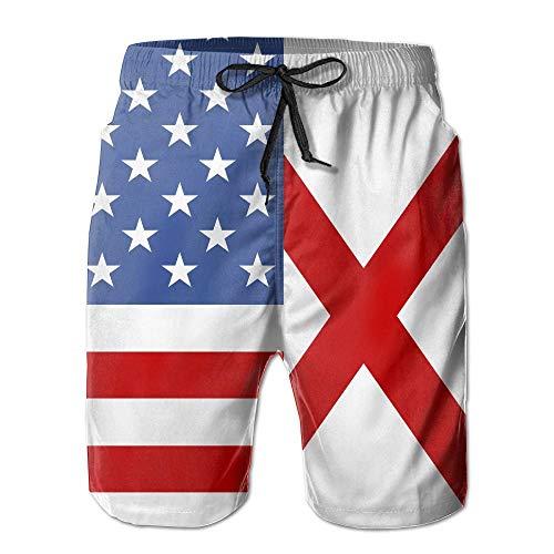 VVIANS Mens American Alabama Flag Breathable Beach Board Shorts Swim Trunks Quick Dry XX-Large -