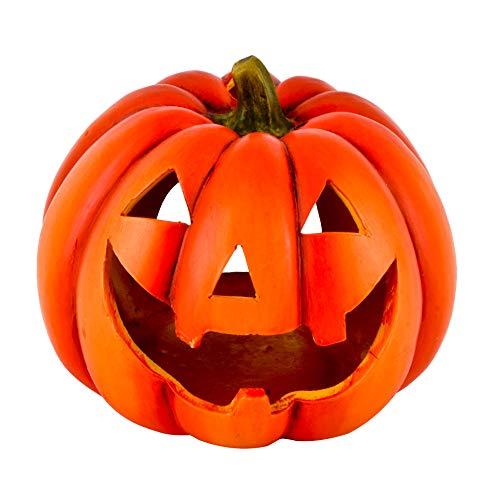 Dadeldo-Home Kürbis Deko-Objekt Herbst Halloween Keramik Orange (15x19x19cm)