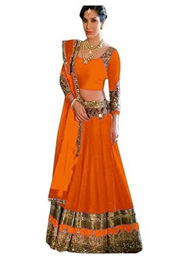 Muta Fashions Bangalori Silk Orange Women Lehenga ( LEHENGA97_Orange )