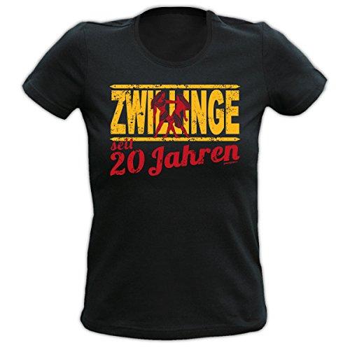 Geburtstag Girlie Shirt ZWILLINGE seit 20 Jahre Ein colles, witziges Fun  Geschenk oder Mitbringsel für Damen Schwarz