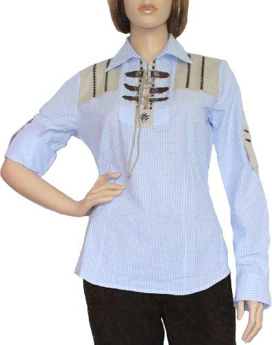 Trachtenbluse Damen Trachten lederhosen-bluse Trachtenmode hellblau kariert, Größe:44