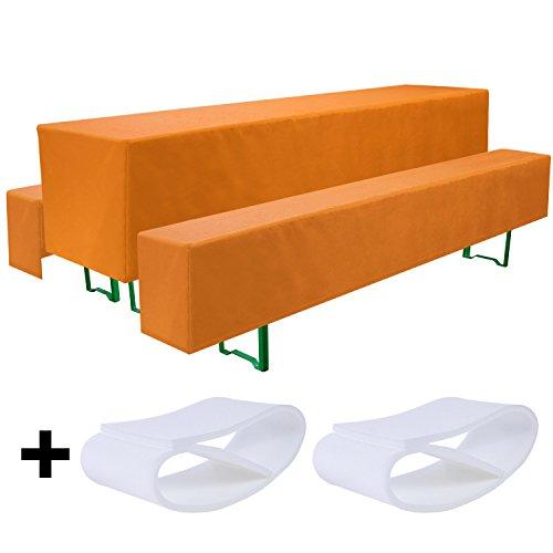 Beautissu Comfort M gepolsterte Bierbank-Hussen & Tisch-Husse 5 TLG. Set für 70cm breite Bierzeltgarnitur Orange & weitere Farben