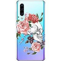 Oihxse Cristal Funda Compatible con Xiaomi Mi 8 Lite Silicona Estuche TPU Suave Flexible Transparente Carcasa Calavera Rosa Flores Patrón Anti Rasguños Protector Caso(E2)