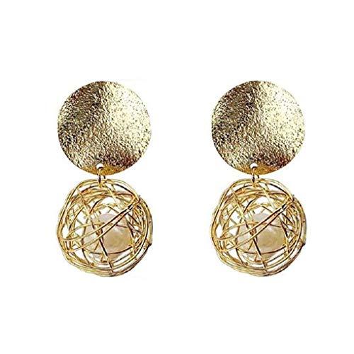 Orecchini Donne figura geometrica della sfera di metallo della perla di goccia Filled Earrings Eardrop Girlish Ear Decoration Mengonee