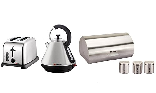 6PC Set of Electric Kettle, Toaster, Bread bin & 3 Canisters – Silver