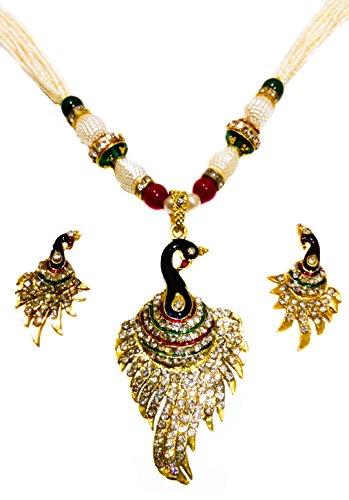 KAAYRA Meenakari Dancing Peacock Designed Diamond Studded Pearl Chain Pendant Set / Rani Haar  available at amazon for Rs.349
