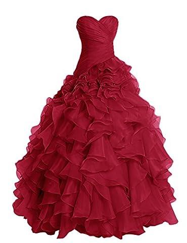 Dresstells Damen Abendkleider Organza Hochzeitskleider Promi-Kleider Dunkelrot Übergröße 48W