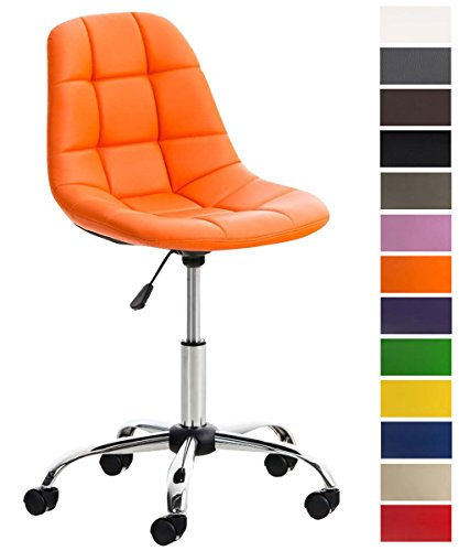 CLP Silla de Escritorio Emil en Cuero Sintético I Silla de Trabajo Moderna I Silla de Estudio Regulable en Altura & Giratoria I Color: Naranja