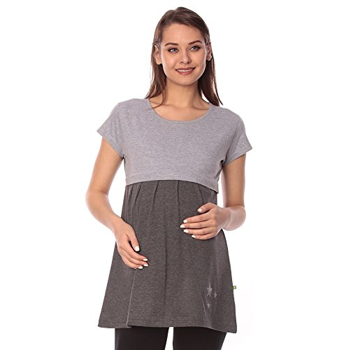Goldstroms women's Round Neck Maternity/Feeding/Nursing Tshirt/Top/Tee (Large, Charcoal Grey)