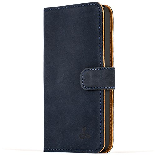 Snakehive® Vintage Collection Apple iPhone 5C Vintage-Brieftaschen-Etui aus Nubukleder mit Kreditkarten-/ Banknotenfach (Marine Blau)