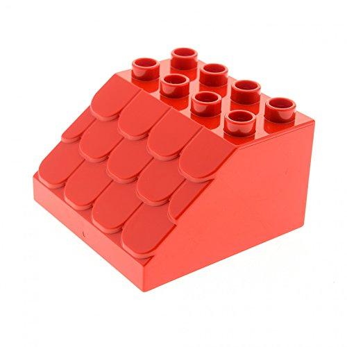 1 x Lego Duplo Dach schräg Stein rot 4 x 4 x 2 mit Schindeln Dachstuhl Box breit klein für Puppenhaus Bauernhof Farm Set 10819 10616 18814