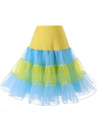 Dresstells 1950 Petticoat Reifrock Unterrock Petticoat Underskirt Crinoline für Rockabilly Kleid Yellow-Blue S