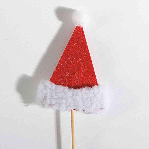 Nikolausmütze/Weihnachtsmütze ROT-WEISS 79462 Stecker 5,5x8cm Filz (Weiße Nikolausmütze)