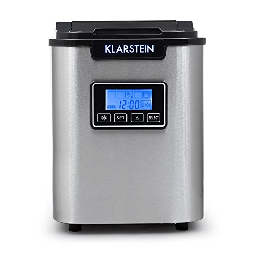 41VmCllbHeL. SS500  - Klarstein Icemeister - Ice Maker, Ice Cube Machine, V.2, Ice Cube Maker, Timer, LCD Display, 150W, 12kg / 24h, 3 Cube Sizes, Self-Cleaning Program, LED Lighting, Stainless Steel, Black
