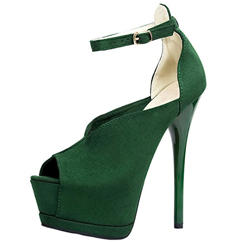 Oasap Femme Chaussure A Talons Hauts Bride Cheville Talons Aiguilles Plate-forme Vert