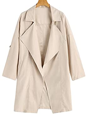 Baymate Mujer Casual Chaquetas Largo Abrigo Manga Larga Suelto Trench Coat Cárdigan Tops Outwear Blusa
