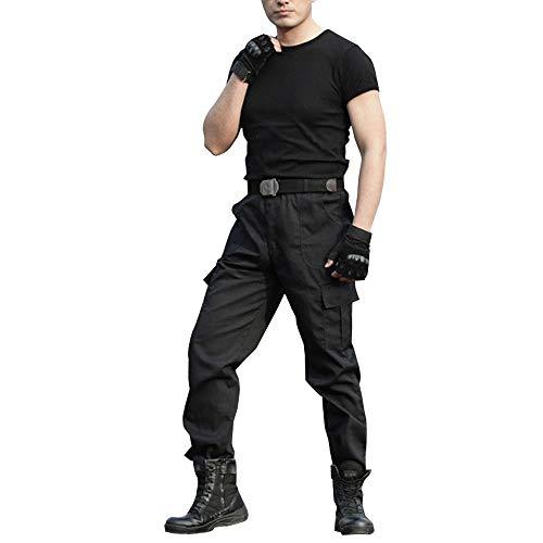 XFentech Militär Hose - Große Größe Arbeitskleidung Kampfhosen Verschleißfeste Hosen,Schwarz,Tag 185,Taille 97cm