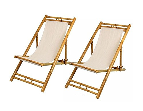 Spetebo Bamboo Relax Liegestuhl 60x135cm beige -