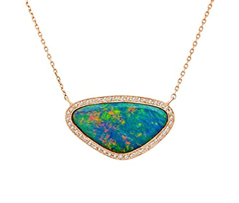 Celine d'Aoust 14 ct Rose Gold Triangle Multicolour Doublet Opal and White Diamonds Necklace of Length 37 - 40