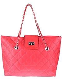 Zibuyu Women Fashion Nylon Handbag Chain Lattice Shoulder Bags Tote Red
