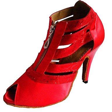 Scarpe da ballo-Personalizzabile-Da donna-Balli latino-americani / Salsa-Tacco su misura-Raso-Nero White